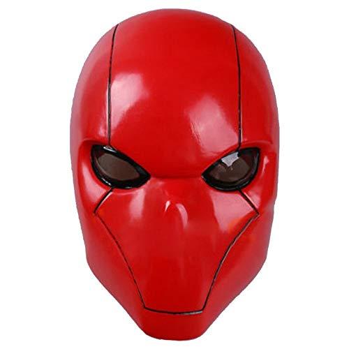 Hood The Batman Kostüm Red - Rote Kapuze Batman Maske Erwachsene Wayne Cosplay Voller Kopf Helm PVC Maske Atmungsaktive Mann Erwachsene Halloween Party Requisiten