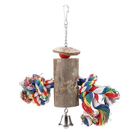 Giocattolo da masticare per uccelli, Corda colorata Altalena appesa in legno con pappagalli di campana Gabbia a morso Giocattoli per Macaw Grigio africano Cacatua amazzonica Cacatua Parrocchetto Cocka