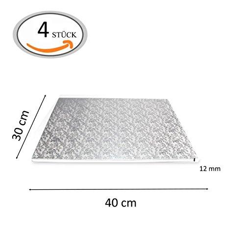 Tortenplatte Kuchenplatte Cake-Board Drum (30x40 cm - 4 Stück, Silber)