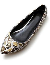 OCHENTA Mujer zapatillas de ballet en punta modo de la cabeza de la PU solo tamano 34-43 de los zapatos ocasionales