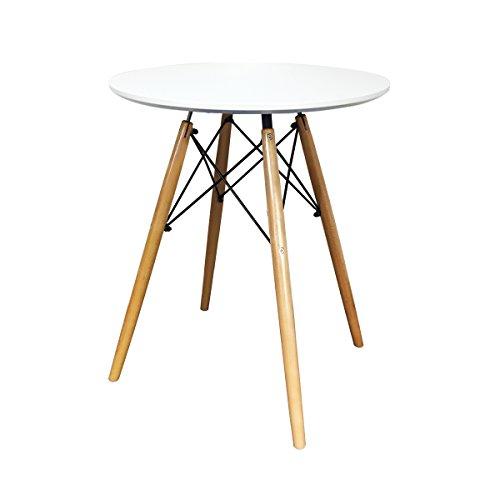 IHANA rund modernen Esstisch DSW Eiffel Stil MDF Tischplatte in weiß & schwarz, Buche massiv Holz Bein mit hochwertigen Stahl Rahmen in Black Powder Coat, weiß, Diameter 60cm