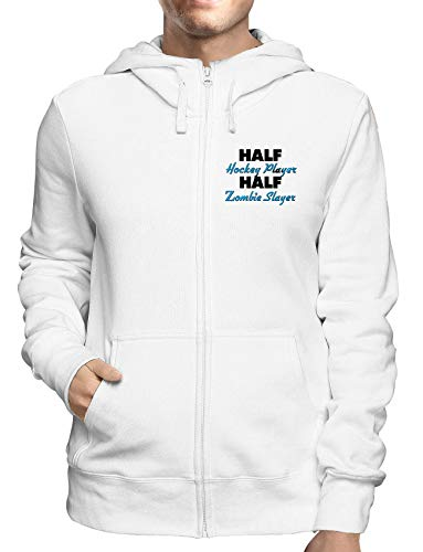 Sweatshirt Hoodie Zip Weiss WTC1231 Half Hockey Player Half Zombie Slayer