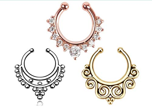 fake septum piercing Nasenpiercing-Clips, Unisex, ohne Loch, Strass, 3 Stück, 316L Chirurgenstahl, Nose Ring, 1.5cm by 1.5cm
