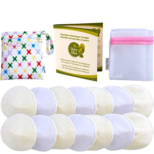 Baby Bliss Waschbare Bambus Stilleinlagen Konturiert (14er-Pack) (Weiss/Beige, 10cm) -