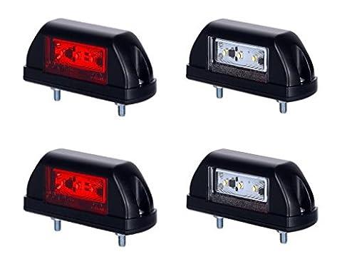 4X 6LED Side Marker lumière 12V 24V Marquage E Double fonction Rouge Blanc