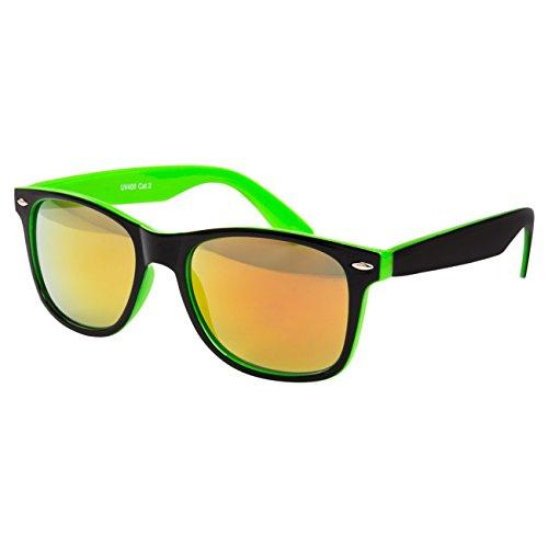 Ciffre EL-Sunprotect® Sonnenbrille Nerdbrille Brille Nerd Feuer Verspiegelt Grün Black Schwarz UV400