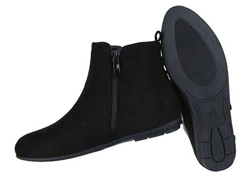 Damen Stiefeletten Schuhe Kurzschaft Chelsea Boots Schwarz 36 9J4PB