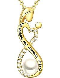 LOVORDS Collier Femme Gravé en Argent 925/1000 Pendentif Perle de Culture Blanche 6mm Mère Enfant et Infini Cœur Cadeau pour Maman