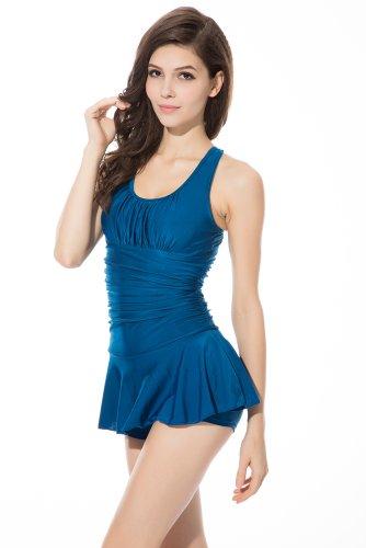Ivy Shi Damen Push Up Einteiler Strandkleid Blau