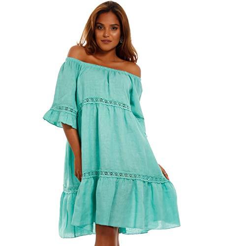 Damen Kleid Leinenkleid Strandkleid Tunika Freizeitkleid Plus Size Leine Kleid Jumper One Size (One Size, Mint) (Mint Grün Plus Size Kleid)