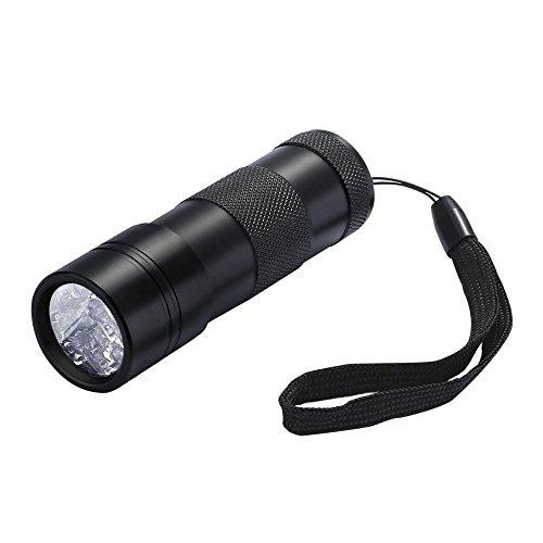 FiveRen UV Lampe 12 Led UV Taschenlampe Schwarzlichtlampe Urinflecken detektor Hund / Katze Fleckenentferner, finden chemische Flecken auf Teppichböden, Teppiche, Boden-Schwarz (Batterie nicht im Lieferumfang enthalten)