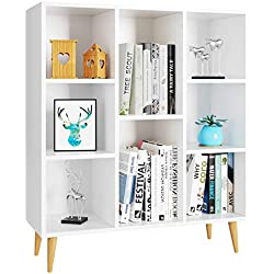 Homfa Meubles de Rangement Blanc Meubles Scandinave en Bois Bibliotheque Etagere Rangement avec 8 Casiers Armoire Rangement pour Salon, Bureau, Chambre 80x29.5x93CM