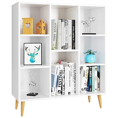 Homfa Librería Estantería Blanca Nórdico 8 Cubos