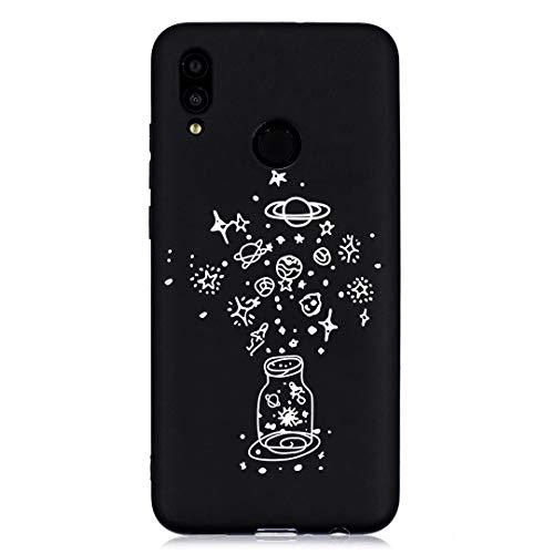 ChoosEU kompatibel mit Huawei P Smart 2019 / Honor 10 Lite Hülle Silikon Muster Schwarz Handyhülle für Mädchen Frau Mann, Dünn Silikonhülle Bumper Stoßfest Slim Case Schutzhülle Soft Cover - Flasche -