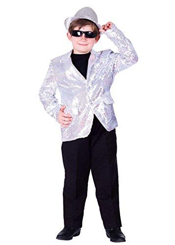 Dress Up America Komplett gefütterte Silber Pailletten Jacke für Kinder (Jacke Darsteller Erwachsene)