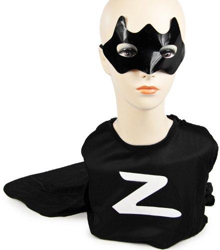 Cooles Kinder Zorro-Bandit Kostüm Karneval Fasching Rächer T-Shirt Hose Maske Cape ()
