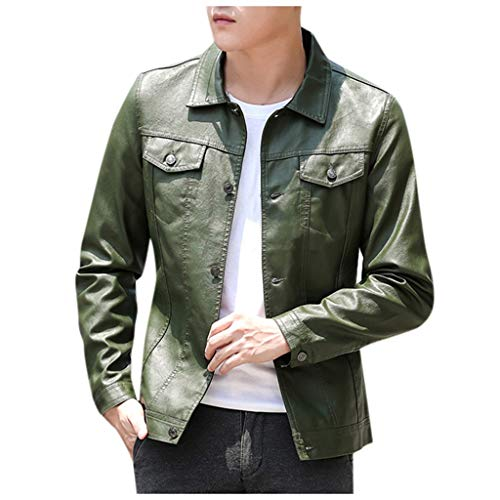Schaf Kostüm Bad - TAMALLU Herren Outwear Kurz Feste Komfort Warm Leder Jacke Langarm Reißverschluss Mantel(Armeegrün B,L(L))