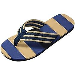 QinMM Sandalias y Chanclas a Rayas Verano Para Hombre, Zapatos de Playa de Baño (42, Azul)