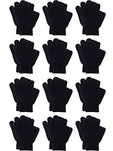 12 Paar Winter Gestrickte Magic Stretch Handschuhe Kinder Jungen Mädchen Stricken Baumwolle Warme Handschuhe für Kinder (Schwarz, Kindergröße 5 bis 12 Jahre)