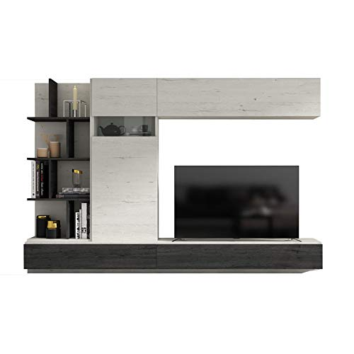 Tousmesmeubles Composition TV Bois Blanchi/Bois Noir - Camelia n°2 - L 270 x l 45 x H 182 - Neuf