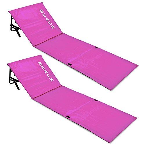 Deuba Strandmatte | Gepolstert | Faltbar | Inkl. Verstellbarer Lehne und Tragegurt | Staufach | Leichte Stahlrohrkonstruktion | Badematte Isomatte Strandtuch mit Rückenlehne | Farbauswahl |