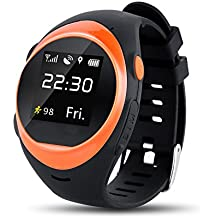 S888A Smart Watch Newest Wifi GPS Smartwatch for Kids Elderly Safety Watch,Smartwatch Phone with SIM Calls Anti-lost GPS Tracker smart watch for Android / IOS (Orange)
