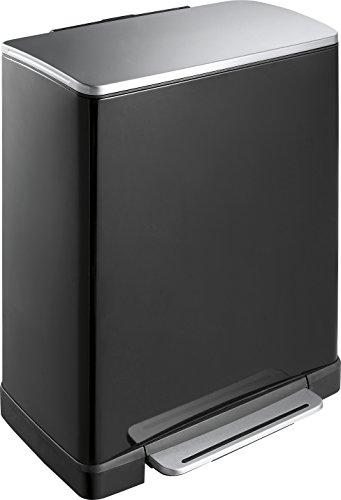 EKO E-Cube Poubelle à Pédale Métal Noir 34,5 x 50 x 65 cm 50 litres