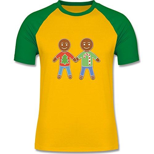 Weihnachten & Silvester - Lebkuchenmann und -mann - zweifarbiges Baseballshirt für Männer Gelb/Grün