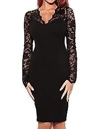 MIUSOL Damen Schulterfrei Spitze Cocktailkleid Etuikleid langarm Stretch Kleid Blau 36-44