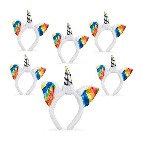 6x Einhorn Haarreif im Set, Kopfschmuck für Kinder, mit Ohren und Horn, Regenbogen, Glitzer, Fasching, weiß-bunt
