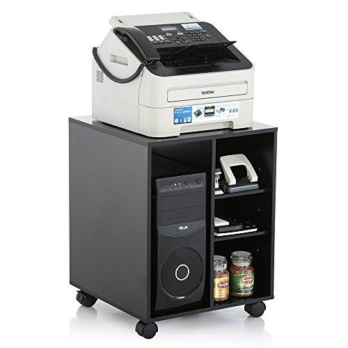 Roll-aus-regal (Fitueyes Büro Schrank Multifunktionswagen Drucker Ständer aus Holz 46x46x68cm schwarz PS404601WB)