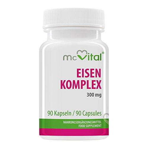 Eisen Komplex 300 mg - 90 Kapseln - Mit Vitaminen - Mehr Blutsauerstoff - Gegen Müdigkeit - 90 Kapseln