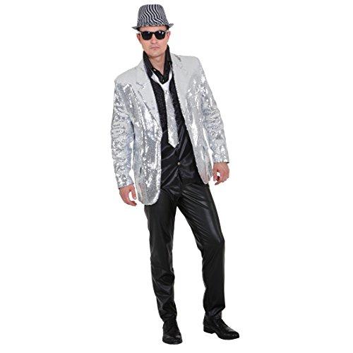 Showjacket silber Pailletten Jacke Glitzerjacke Showmaster Glitzer Pailletten Show Jacket Paillettenjacke Herrenjacke XL 56/58
