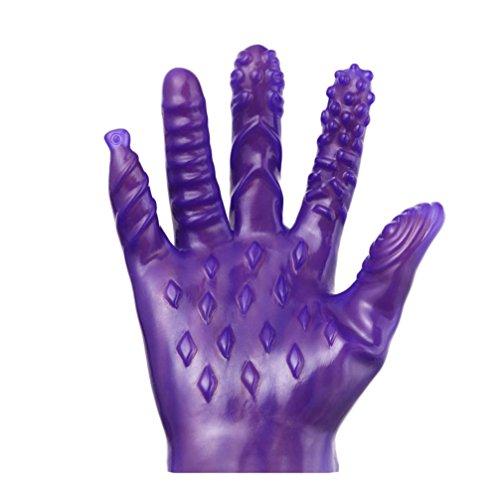 Magic Palme Flirten Massage Handschuhe HKFV Für Frauen und Männer Anal G-Punkt Massage Sticks Spielzeug Handschuhe (A, Lila)