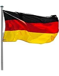 TecTake Mástil para bandera 6,50 m con bandera de Alemania y cuerda palo asta aluminio