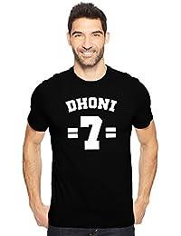 M S Dhoni 7 Indian Cricketer Fan Art Men's Cotton Round Neck Tshirt In Black & Navy Blue