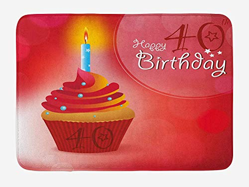 Icndpshorts 40th Birthday Bath Mat, Sweet Delicious Cupcake with Candlestick Dots and Stars Romantic Design, Plush Bathroom Decor Mat with Non Slip Backing, 23.6 x 15.7 Inches, Red Orange Blue
