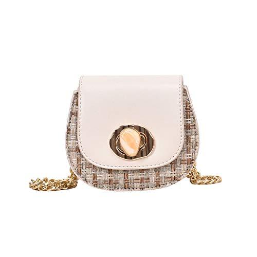 2019 Fashion Schultertasche Mini Small Square tasche ,Crossbody Bag mit Kette Schulterriemen Henkeltasche Schultertasche Tasche,geeignet für den Alltag, Reisen, Büroanlass (Weiß)