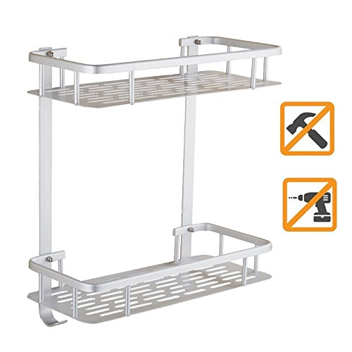 Swallowzy No Drilling Bathroom Shelf, Durable Aluminum Sticky Shelf Shower Storage Towel Wall Mount Shelf Shower Caddy Shelf Storage Rack Corner Shampoo Basket Holder with Hooks, Style B 2 Tier
