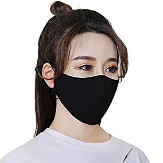 Adults Kids PM2.5 Mouth-Muffle Anti Pollution Pollen Dust Mask Antibacterial Activated Carbon Filter Reusable Face Protective Guaze Mask for Travel, Hospital, Pubic Place,Factory (3pcs (Black))