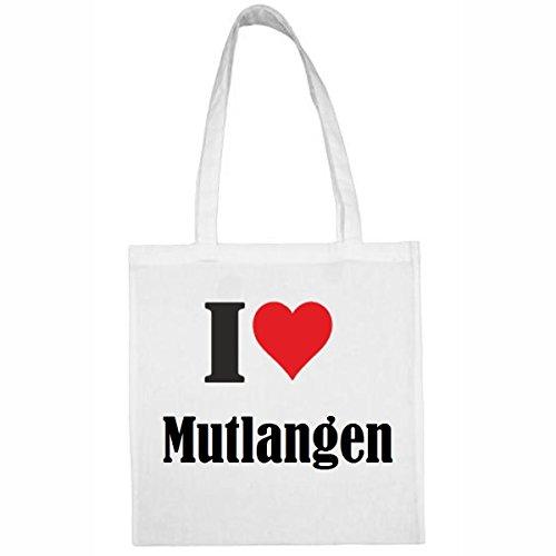 """Tasche""""I Love Mutlangen""""Größe""""38x42""""Farbe""""Weiss""""Druck""""Schwarz"""