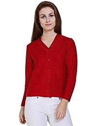 TAB91 Women's Red V Neck Designer Sweater