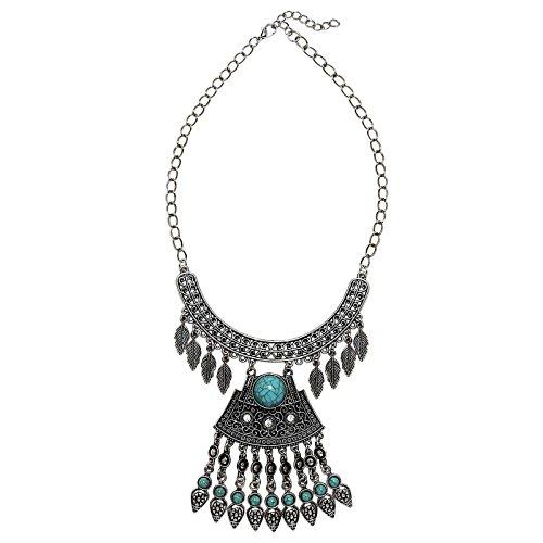 BeyDoDo Modeschmuck Böhmischen Statementkette Halskette Damen Türkis Federn Lange Quaste Silber Halskette (Name Kostüm Arabische)