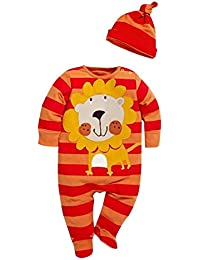 CHIC-CHIC Ensemble Bébé Garçons Fille 2pc Combinaison Grenouillère Barboteuse Body + Bonnet Chapeau Animal Cartoon Pyjama