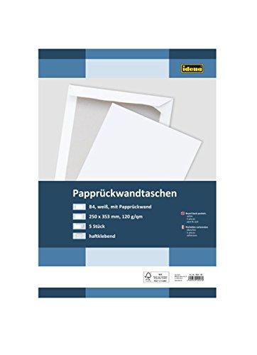 Preisvergleich Produktbild Idena 10247 - Versandtasche DIN B4, 120 g / m², haftklebend, mit Papprückwand, 5 Stück, FSC-Mix, weiß