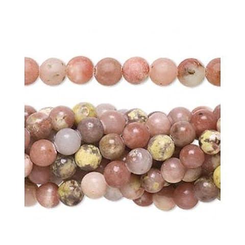 Fil De 95+ Rose/Jaune Lépidolite 4mm Perles Rond - (FM1030) - Charming Beads