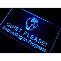 ADV PRO m096-b Recording in Progress Quiet Please Neon Sign