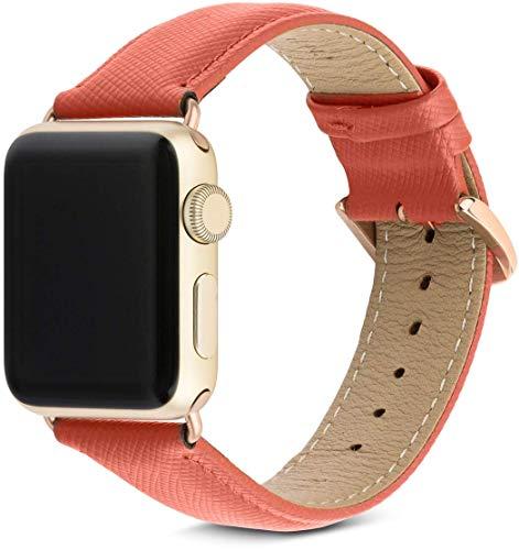 dbramante1928 Echtleder-Uhrenarmband für Apple Watch (42/44mm) - [Modell: Madrid, Saffianoleder, Handgefertigt, Farbe: rusty rose/gold] - AW42RRGO5148