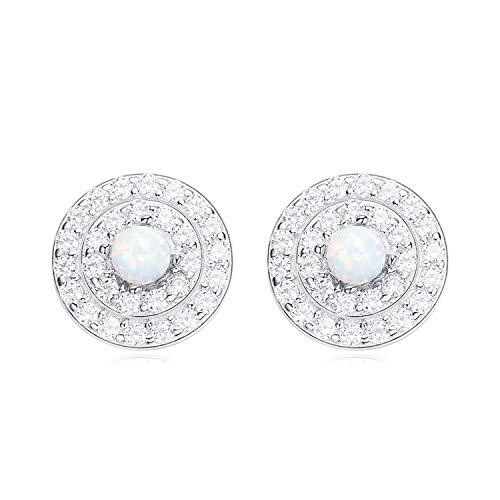 Epinki 925 Silber Damen Ohrringe Rund Opal Form Ohrschmuck Damenohrringe Weiß mit Weiß Zirkonia