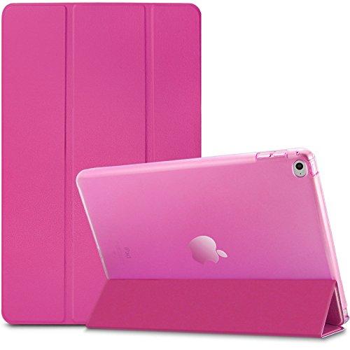 iPad Air 2 / iPad 6 Hülle, Infiland Ultra Dünn Tri-Fold Smart-Muschel PU Leder Ultra Schlank Superleicht Ständer Smart Shell Cover Schutzhülle Etui Tasche für Apple iPad Air 2 (2014 Modell)/ iPad 6(mit Auto Schlaf / Wach Funktion)(Transparent Magenta)